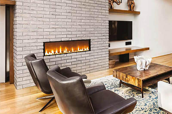 Bricks Aksel white accent feature wall loft fireplace decor interior design toronto ontario