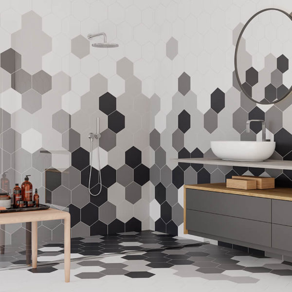 White Grey Marengo Black Hexagon bathroom shower accent wall tile floor toronto ontario canada