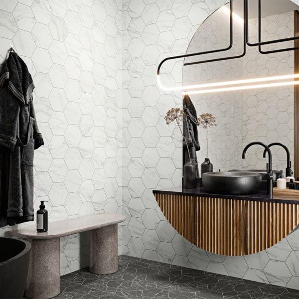 Hexagon bathroom shower accent wall tile floor toronto ontario canada