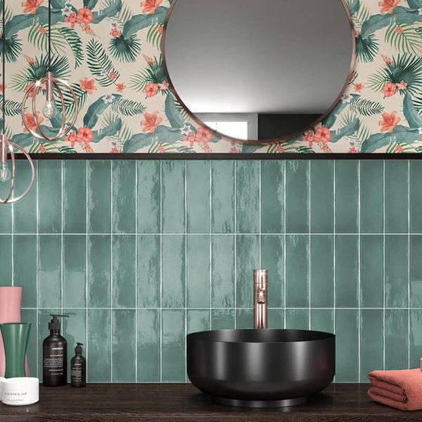 tiffany glossy bathroom backsplash spa vertical wall tile shower toronto ontario