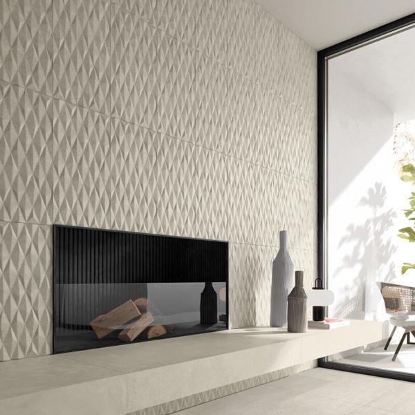 concrete cement beige kitchen backsplash accent wall tile floor design toronto ontario