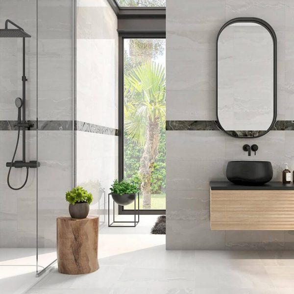 white stone wall tile floor toronto ontario bathroom shower