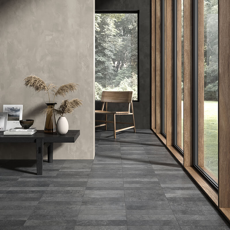 black stone concrete wall tile floor backsplash shower toronto