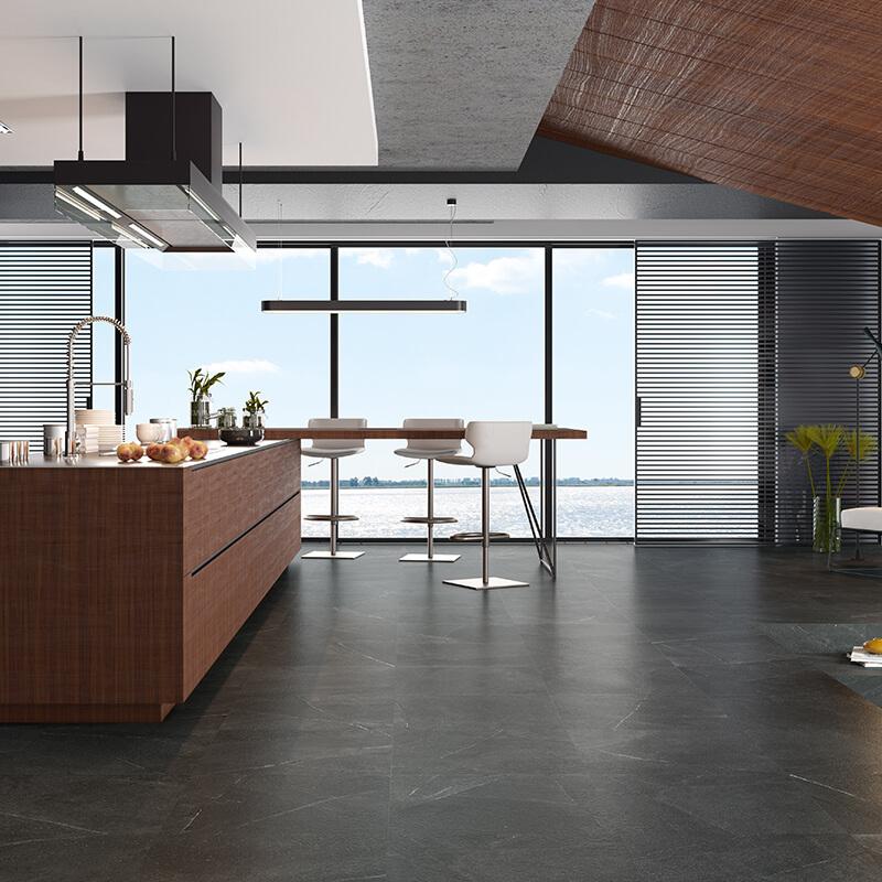 black stone wall tile floor kitchen backsplash toronto