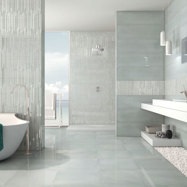 green accent wall tile floor bathroom shower decor canada
