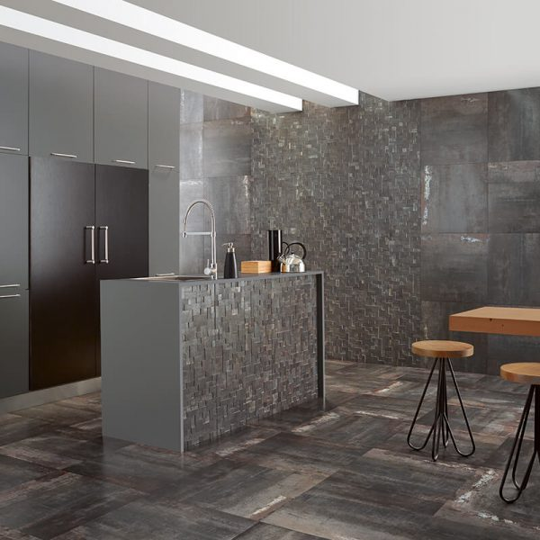 iron metallic wall tile floor kitchen decor backsplash island toronto