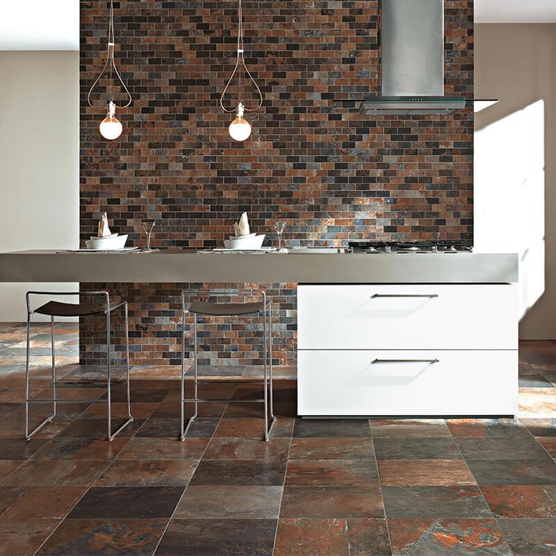 natural slate stone wall tile floor brown accent kitchen backsplash canada mosaic
