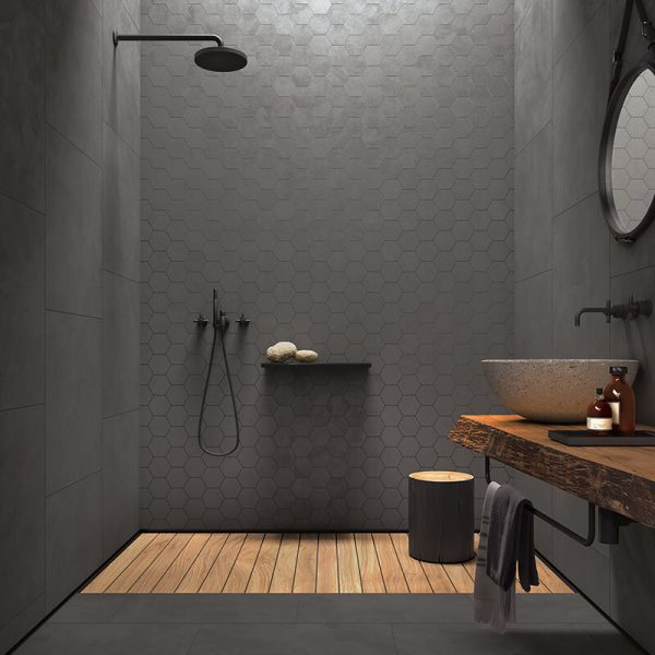 seamless cl03 bathroom shower dark grey hexagon tile concrete cement wall tile floor toronto ontario