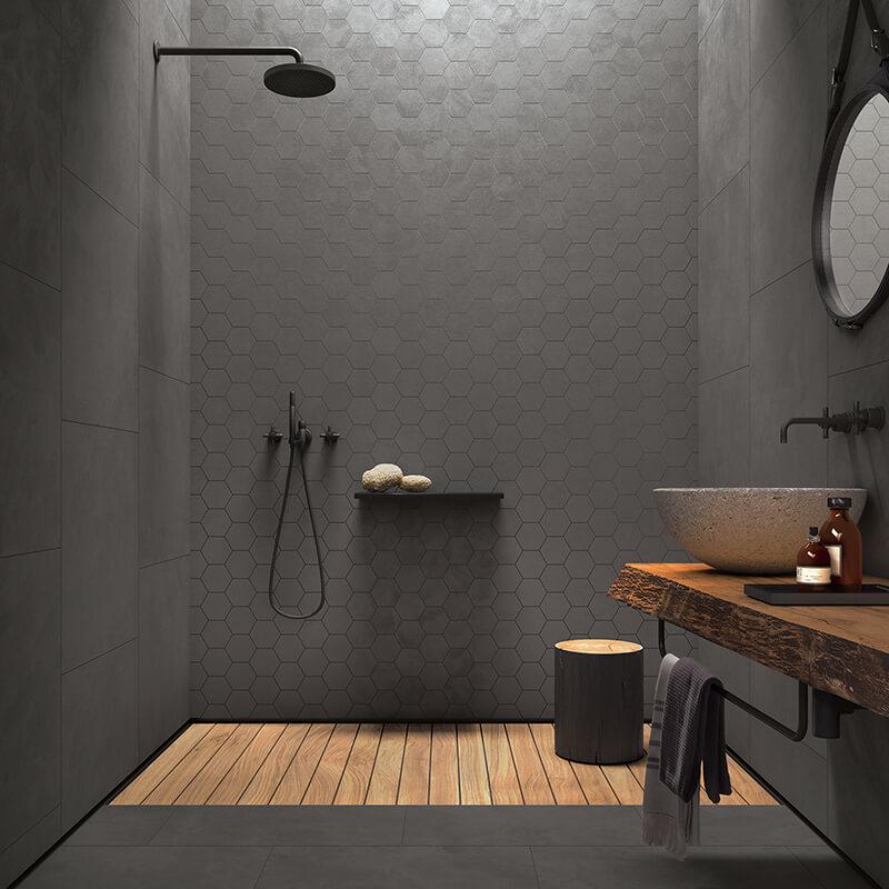 seamless cl03 bathroom shower dark grey hexagon tile concrete cement wall tile floor toronto ontario