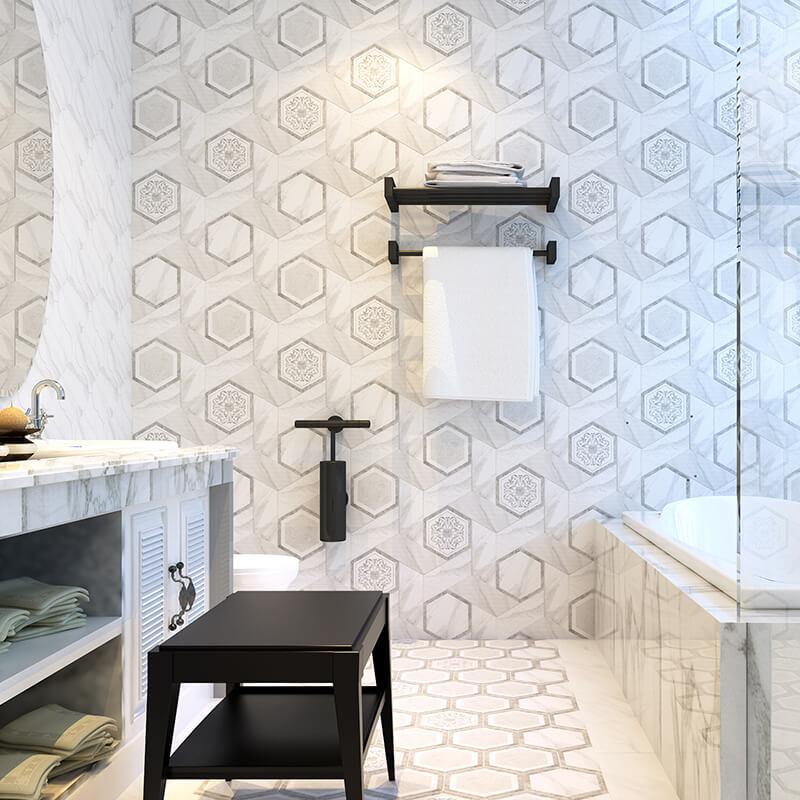 white carrara calacatta statuario marble stone hexagon wall tile floor kitchen backsplash bathroom shower toronto ontario