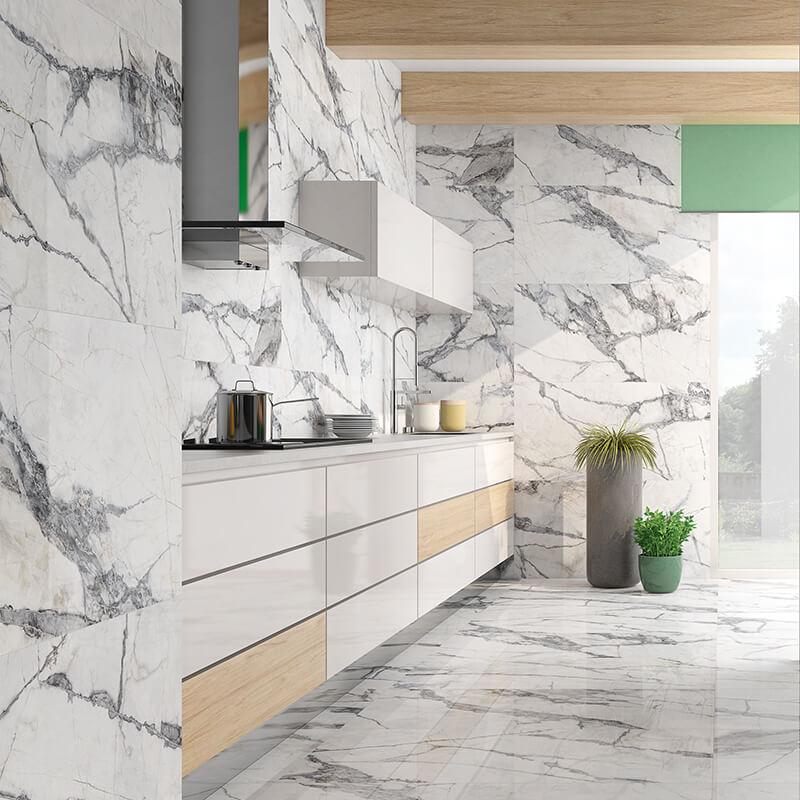 white marble stone wall tile luxury kitchen backsplash toronto